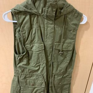Army green hooded vest